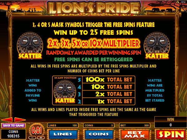 Lions Pride bonus screenshot