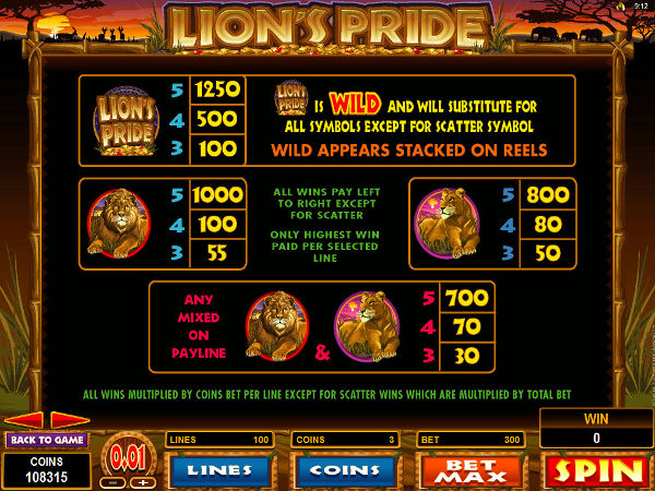 Lions Pride pay table screenshot